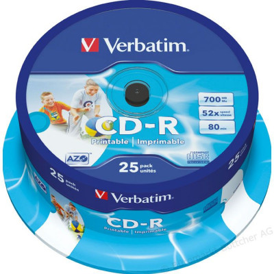 Verbatim -CD-R 52x 700mb-Photo inkjet printable - (cake box ) 25