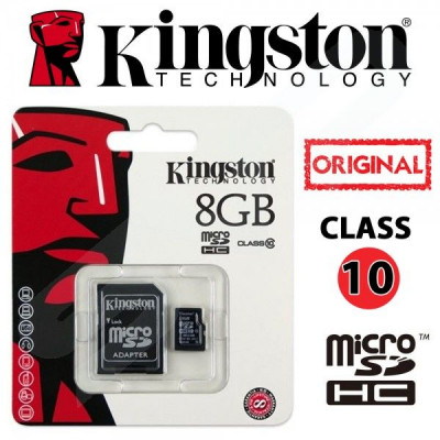 Μνήμη  Micro Secure Digital με adaptor sd 8 gb  -Kingston class 10