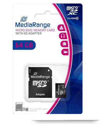 Μνήμη micro SD  Secure Digital με sd adaptor 8 gb - Media range  class 10